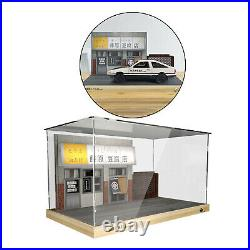 1/18 Dustproof Display Showcase with LED Light for Model Car Storage Toys
