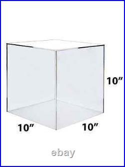 10 Cube Riser Display Pedestal Showcase Box 5 Sided Acrylic Clear Qty 2