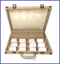 14pc Jewelry Display Case Burlap Showcase Stand Clear view Jewelry Display Case