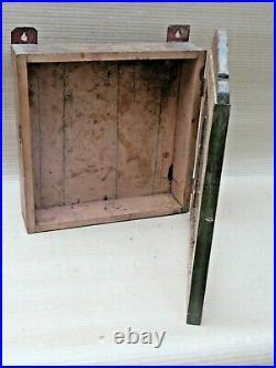 1940-50 Vintage wood display showcase Original hand painted color Glass door