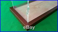 19L x 6W x 8H Clear Acrylic Display Case Box Table Top Showcase Walnut frame