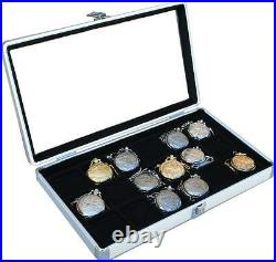 2 Aluminum 18 Pocket Watch Show Cases Display Antique Jewelry Supply Glass Top