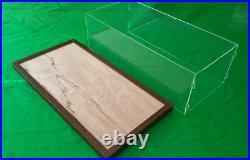 22 x 9.75 x 7 Pocher Acrylic Display Case Stand Showcase Walnut Frame Base