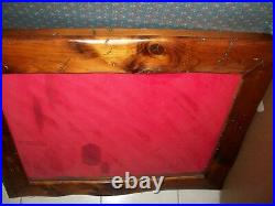 Antique Art Deco Oak Wood & Glass DISPLAY WALL CABINET SHOWCASE 1800s Impressive