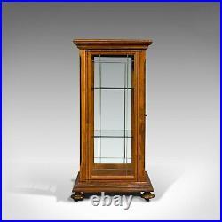 Antique Shop Display Cabinet, English, Oak, Walnut, Showcase, Edwardian, C. 1910
