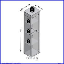 Atico Tall Slim White Showcase Glass Display Cabinet/Shelving Unit Cupboard