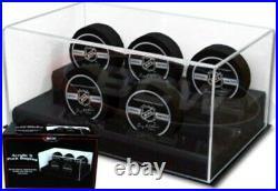 BCW Deluxe Acrylic Black Base Five (5) Hockey Puck Display Case showcase holder