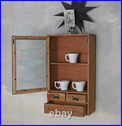 Bathroom Cabinet Vintage Hanging Display Medicine Wall Showcase Antique