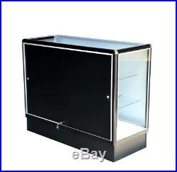 Black aluminum showcase full vision 48 inch frame shelf retail store display