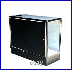 Black aluminum showcase full vision 60 inch frame shelf retail store display
