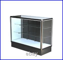 Black aluminum showcase full vison 70 inch frame shelf retail store display