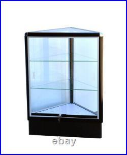 Black triangle corner showcase 20 inch frame shelf retail store display wall