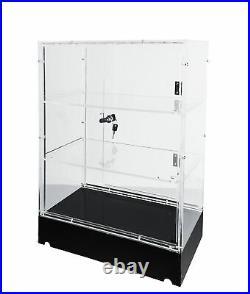 Clear Cabinet Acrylic Display LED Light Plexiglass Showcase LockNKey Transparent