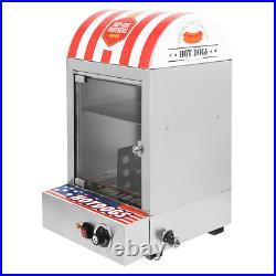 Commercial 110V Electric Hot Dog Steamer Machine & Bun Warmer Display Showcase