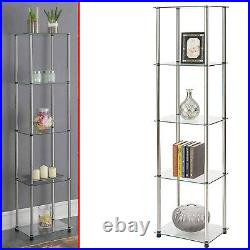 Curio Tower Open Cabinet Glass Shelves Display Rack Showcase Storage Floor Stand