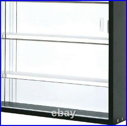 Display Cabinet Wall Mounted Modern Collector's Showcase Black/White Glass Front