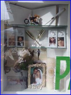 Display Case Adj Glass Shelves Showcase Wood Shadow Box Wall Curio Exhibit