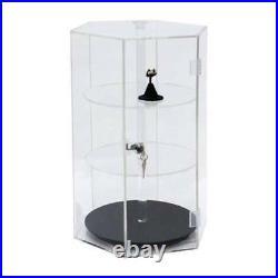 Display Case Countertop 3 Shelf Hex Hexagon Showcase Locks Spins Acrylic 18x12
