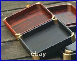 Ebony Rosewood Wooden Jewelry Display Tray Showcase Plate Organizer Holder