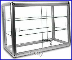 Elegant Silver Anodized Aluminum Display Table Top Tempered Glass Show Case