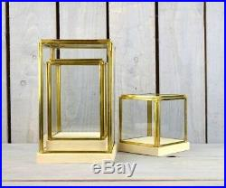 Glass and Brass Display Showcase Box Dome with Wooden Base Tall 23.5 cm