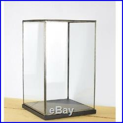 Hand Made Glass and Black Metal Frame Display Showcase Box With Black Wooden