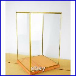 Hand Made Glass and Brass Metal Frame Display Showcase Box With Wooden Base 4