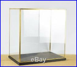 Hand Made Large Glass and Brass Display Showcase Box Dome With Black Wooden B