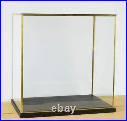 Hand Made Large Glass and Brass Metal Frame Display Showcase Box With Black W