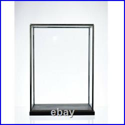 Hand Made Large Glass and Iron Display Showcase Black With Base 37.8 cm Tall