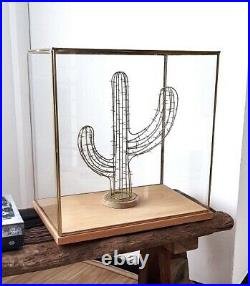 Hand Made Large Glass and Iron Display Showcase With Black Base 27.5 cm Tall