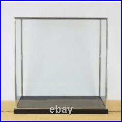 Hand Made Large Glass and Silver Metal Frame Display Showcase Box With Black
