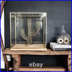 Hand Made Large Glass and Silver Metal Frame Display Showcase Box With Wooden