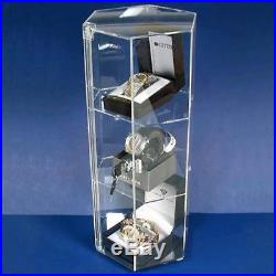 Jewellers acrylic hexagon revolving lockable showcase cabinet Jewellery Display