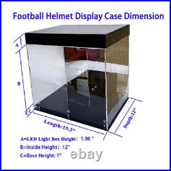 LED Light Full Football Helmet Deluxe Acrylic Display Case Box Showcase Mirrored
