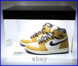 LED Powered Lights Sneakers Jordan Basketball Acrylic Display Show Case 2 Shoes