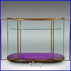 Large Antique Glazed Display Cabinet, English, Bronze, Shop, Showcase, Edwardian