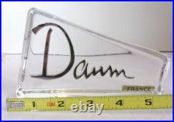 Large Daum Crystal Showcase Store Display Sign Rare 6 1/4 x 3 1/2