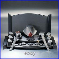 Luxury Steel Grey Leatherette Jewellery Showcase Jewellers Window Display Set