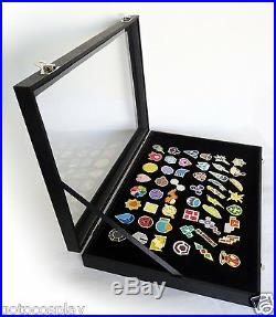 Poke Gym Badges with Glass Lid Display Showcase Set of 50 Lapel Pin Badges