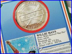 RARE WILLIE MAYS 1992 Showcase Baseball. 999 Silver Medallion COIN in display