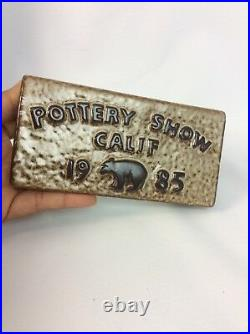 Rare Howard Pierce Pottery 1985 California Pottery Show Display Case Sign Brown