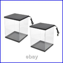Set of 2 Clear Display Showcase with LED Light Box for MG Gundam Vehicles Model