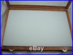 Showcase display box cherry wood secure display foam lining 18 X 24 X 3 inch