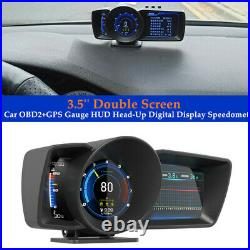 Smart 3.5'' Double Screen Car OBD2+GPS Gauge Head-Up Digital Display Speedometer
