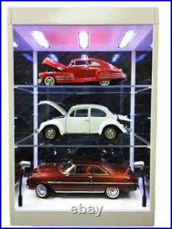 TRIPLE 9 69927K or 69927W Clear Display case 2 shelves LED lights in base & top