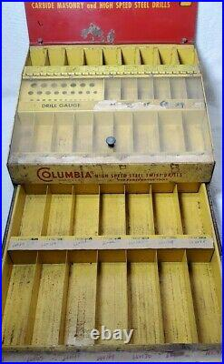 VTG RARE COLUMBIA DRILL BIT COUNTER TOP DISPLAY SHOW CASE WithDRAWER