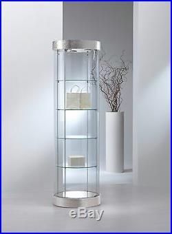 Vetrina Vetrinetta Espositore Display Showcase Banco rotonda vetro pelle