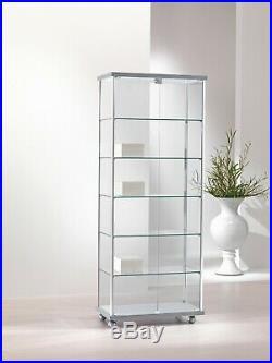 Vetrina Vetrinetta Espositore Display Showcase Vetro Alluminio BIANCA