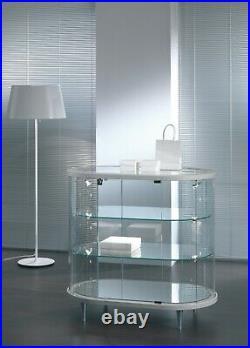 Vetrina Vetrinetta Espositore Display Showcase ovale vetro cristallo curvo